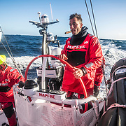 Leg 7 from Auckland to Itajai, day 13 on board MAPFRE, Cape Horn traditions, Blair Tuke with a cigar, 30 March, 2018.