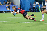 August 08, 2016; Rio de Janeiro, Brazil; USA Women's Eagles Sevens Alev Kelter runs in for a try against France during the Women's Rugby Sevens 5th Place Play-Off match on Day 3 of the Rio 2016 Olympic Games at Deodoro Stadium. Photo credit: Abel Barrientes - KLC fotos