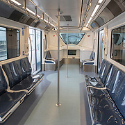The train at Orlando International Airport remains functional but mostly empty to air passengers, due to the Coronavirus (Covid-19) outbreak on Friday, April 17, 2020 in Orlando, Florida. (Alex Menendez via AP)