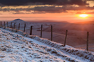 Looking back towards Shutlingsloe from track to Errwood and Shining Tor (near Cat & Fiddle PH). Winter view, golden sunset