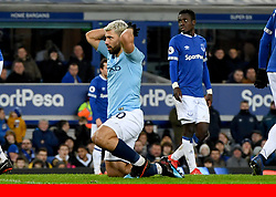 Manchester City's Sergio Aguero reacts after attempting an overhead kick
