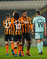 Hull City's Mallik Wilks is congratulated by George Honeyman after scores his side's first goal in the 24th minute<br /> <br /> Photographer Lee Parker/CameraSport<br /> <br /> The EFL Sky Bet League One - Hull City v Rochdale - Tuesday 2nd March 2021 - KCOM Stadium - Kingston upon Hull<br /> <br /> World Copyright © 2021 CameraSport. All rights reserved. 43 Linden Ave. Countesthorpe. Leicester. England. LE8 5PG - Tel: +44 (0) 116 277 4147 - admin@camerasport.com - www.camerasport.com