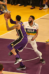 February 27, 2019 - Los Angeles, CA, U.S. - LOS ANGELES, CA - FEBRUARY 27: Los Angeles Lakers Forward Kyle Kuzma (0) going up for a shot during the first half of the New Orleans Pelicans versus Los Angeles Lakers game on February 27, 2019, at Staples Center in Los Angeles, CA. (Photo by Icon Sportswire) (Credit Image: © Icon Sportswire/Icon SMI via ZUMA Press)