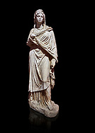 Roman statue of Sabina .Marble. Perge. 2nd century AD. Inv no 3066-3086. Antalya Archaeology Museum; Turkey. Against a black background. .<br /> <br /> If you prefer to buy from our ALAMY STOCK LIBRARY page at https://www.alamy.com/portfolio/paul-williams-funkystock/greco-roman-sculptures.html . Type -    Antalya     - into LOWER SEARCH WITHIN GALLERY box - Refine search by adding a subject, place, background colour, museum etc.<br /> <br /> Visit our ROMAN WORLD PHOTO COLLECTIONS for more photos to download or buy as wall art prints https://funkystock.photoshelter.com/gallery-collection/The-Romans-Art-Artefacts-Antiquities-Historic-Sites-Pictures-Images/C0000r2uLJJo9_s0