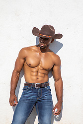 shirtless muscular black cowboy