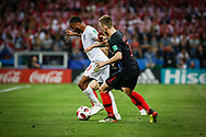 Raheem Sterling of England and Ivan Rakitic of Croatia during the 2018 FIFA World Cup Russia, semi-final football match between Croatia and England on July 11, 2018 at Luzhniki Stadium in Moscow, Russia - Photo Thiago Bernardes / FramePhoto / ProSportsImages / DPPI