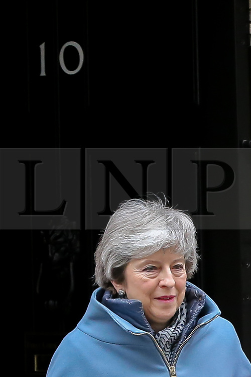 © Licensed to London News Pictures. 06/03/2019. London, UK. Prime Minister Theresa May departs from Number 10 Downing Street to attend Prime Minister's Questions (PMQs) in the House of Commons. <br /> Photo credit: Dinendra Haria/LNP