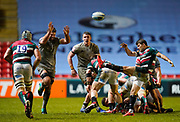 Sale Sharks No.8 Josh Beaumont tries to charge down a kick from Leicester Tigers scrum-half Richard Wigglesworth during a Gallagher Premiership Round 7 Rugby Union match, Friday, Jan. 29, 2021, in Leicester, United Kingdom. (Steve Flynn/Image of Sport)