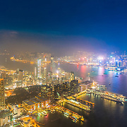 Night view of Hong Kong Island, Kowloon and the bay from Sky100 observation deck