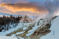 Sunset clouds over Canary Spring in Yellowstone National Park, Wyoming, USA