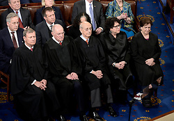 Justices of the Supreme Court listen to U.S. President Donald J. Trump delivering his first address to a Joint Session of Congress on Tuesday, February 28, 2017 at the Capitol in Washington, DC. Photo by Olivier Douliery/ Abaca