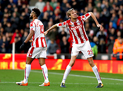 Stoke City's Peter Crouch celebrates scoring his side's second goal of the game