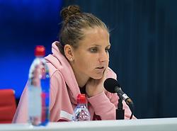 September 4, 2018 - Karolina Pliskova of the Czech Republic talks to the media after losing her quarter-final match at the 2018 US Open Grand Slam tennis tournament. New York, USA. September 04, 2018. (Credit Image: © AFP7 via ZUMA Wire)