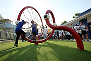 LOS ANGELES, CALIFORNIA - JUNE 16: Young fans play in the new outfield section before the game between the Los Angeles Dodgers and the Philadelphia Phillies at Dodger Stadium on June 16, 2021 in Los Angeles, California. (Photo by Katelyn Mulcahy/Getty Images)