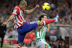 27.10.2013, Estadio Vicente Calderon, Madrid, ESP, Primera Division, Atletico Madrid vs Real Betis, 10. Runde, im Bild Atletico de Madrid's Miranda // Atletico de Madrid's Miranda during the Spanish Primera Division 10th round match between Club Atletico de Madrid and Real Betis at the Estadio Vicente Calderon in Madrid, Spain on 2013/10/28. EXPA Pictures © 2013, PhotoCredit: EXPA/ Alterphotos/ Victor Blanco<br /> <br /> *****ATTENTION - OUT of ESP, SUI*****