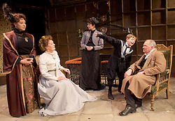 The Last of the De Mullins<br /> by St. John Hankin<br /> directed by Joshua Stamp-Simon<br /> Designed by Victoria Johnstone<br /> Music by Ricky Whales<br /> Produced by Stephen McGill and Joel Marvin <br /> at the Jermyn Street Theatre, London, Great Britain <br /> press photocall <br /> 4th February 2015 <br /> <br /> Alexandra Dowling as Bertha <br /> <br /> Charlotte Powell as Janet Du Mullin <br /> <br /> Roberta Taylor as Mrs De Mullin<br /> <br /> Harriet Thorpe as Mrs Clouston <br /> <br /> Benjamin Fisher as Monty Bulstead <br /> <br /> Stuart Organ as Mr De Mullin <br /> <br /> Rufus King-Dabbs as Johnny <br /> <br /> <br /> Photograph by Elliott Franks <br /> Image licensed to Elliott Franks Photography Services
