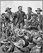 Christian De Wet (1854-1922) Boer soldier and politician addressing. De Wet addressing Burghers near Ventersdorp Station, encouraging them to cross into Cape Colony and get the rebels to rise against the British.