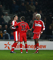 Photo: Andrew Unwin.<br />Hull City v Middlesbrough. The FA Cup. 06/01/2007.<br />Middlesbrough's Mark Viduka (L) celebrates his goal.