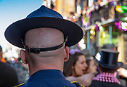Many Louisiana State Police Troopers from across the state work in New Orleans for Mardi Gras on 25th February 2020 in New Orleans, Louisiana, United States. Mardi Gras is the biggest celebration the city of New Orleans hosts every year. The magnificent, costumed, beaded and feathered party is laced with tradition and  having a good time. Celebrations are concentrated for about two weeks before and culminate on Fat Tuesday the day before Ash Wednesday and Lent.