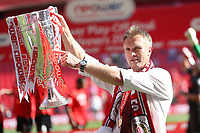 Football - NPower League 2 play-off final -  Cheltenham Town v Crewe Alexandra<br /> Steve Davis, manager of Crewe Alexandra credits the fans by pointing at the trophy at Wembley
