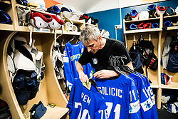 Milan Dragan preparing jerseys for players in Dressing room of Team Slovenia at the 2017 IIHF Men's World Championship, on May 11, 2017 in AccorHotels Arena in Paris, France. Photo by Vid Ponikvar / Sportida