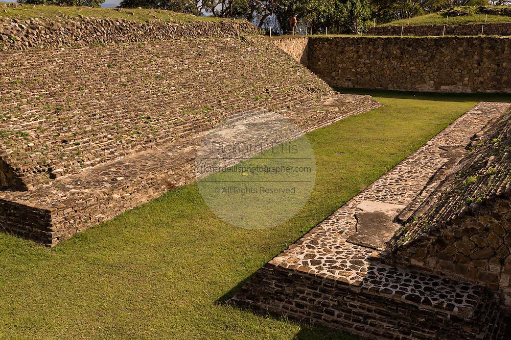 The ball game court of Monte Albán pre-Columbian archaeological site in the Santa Cruz Xoxocotlán, Oaxaca, Mexico.