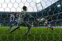 25.09.2011, Weser Stadion, Bremen, GER, 1.FBL, Werder Bremen vs Hertha BSC, im Bild.Claudio Pizarro (Bremen #24) macht das 2:1 gegen Thomas Kraft (BSC #35) welches nicht gegeben wurde.// during the Match GER, 1.FBL, Werder Bremen vs Hertha BSC on 2011/09/25,  Weser Stadion, Bremen, Germany..EXPA Pictures © 2011, PhotoCredit: EXPA/ nph/  Kokenge       ****** out of GER / CRO  / BEL ******
