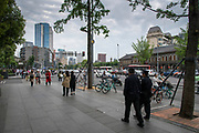 Pedestrians in the City Center in Chengdu, Sichuan, China