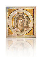 Female Portrait (Antioch, Antakya, Turkey), 1st half of 3rd century AD. Marble cubes, limestone and glass. The mosaic bust of a female with a billowing sail that surrounds her head that it could represent the wind. The mosaic decorated the entrance of a dining room and was once flanked it with now lost representations of the marine deities Thalassa and Okeanosinv 3460, Louvre Museum, Paris .<br /> <br /> If you prefer to buy from our ALAMY PHOTO LIBRARY  Collection visit : https://www.alamy.com/portfolio/paul-williams-funkystock/roman-mosaic.html - Type -   Louvre    - into the LOWER SEARCH WITHIN GALLERY box. Refine search by adding background colour, place, museum etc<br /> <br /> Visit our ROMAN MOSAIC PHOTO COLLECTIONS for more photos to download  as wall art prints https://funkystock.photoshelter.com/gallery-collection/Roman-Mosaics-Art-Pictures-Images/C0000LcfNel7FpLI
