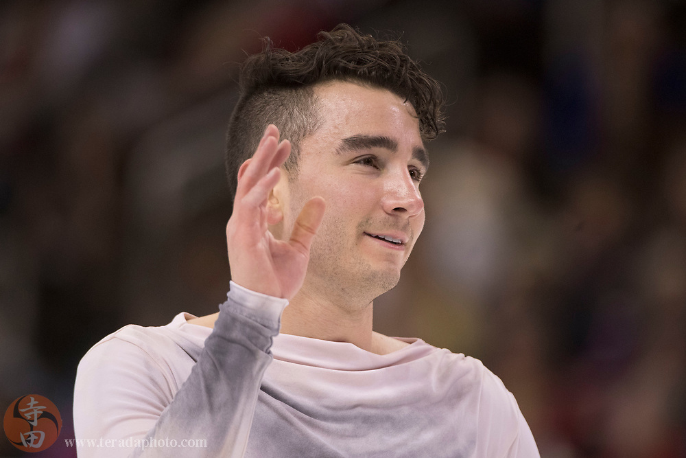 January 4, 2018; San Jose, CA, USA; Max Aaron reacts after performing in the mens short program during the 2018 U.S. Figure Skating Championships at SAP Center.