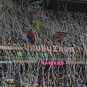 Flamengo fans throw streamers from the stands before the start of the  Flamengo V  Fluminense, Futebol Brasileirao  League match at Estadio Olímpico Joao Havelange, Rio de Janeiro, The classic Rio derby match ended in a 3-3 draw. Rio de Janeiro,  Brazil. 19th September 2010. Photo Tim Clayton.