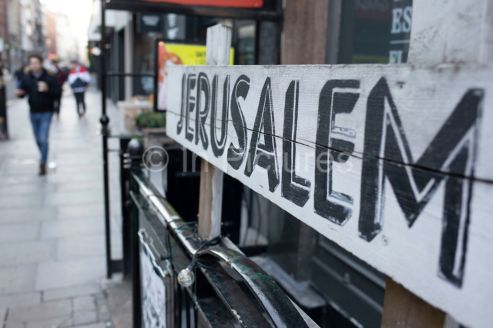 Sign for the Jerusalem Bar on Rathbone Place on 21st January 2020 in London, England, United Kingdom. Jerusalem Bar and Kitchen is a rustic, and yet fashionable cocktail and lounge bar in Fitzrovia.