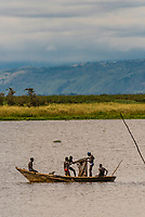 Fishermen on Lake Albert, Murchison Falls National Park, Uganda.