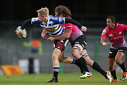 Scott van Breda of Western Province attempts to get his pass away as Lambert Groenewald of the Pumas makes the tackle during the Currie Cup Premier Division match between the DHL Western Province and the Pumas held at the DHL Newlands rugby stadium in Cape Town, South Africa on the 17th September  2016<br /> <br /> Photo by: Shaun Roy / RealTime Images
