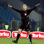 Referee's Mustafa Kamil Abitoglu during their Turkish superleague soccer match Kardemir Karabukspor between Besiktas Dr. Necmettin Seyhoglu stadium in Karabuk Turkey on Monday 01 December 2014. Photo by Kurtulus YILMAZ/TURKPIX