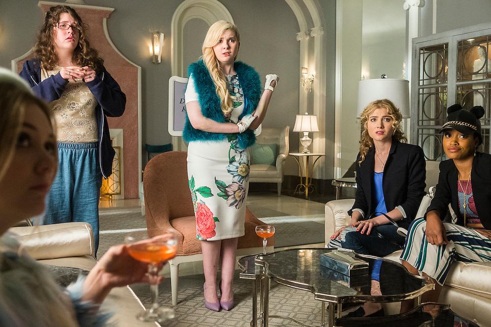 From left: Billie Lourd as Chanel No. 3, Breezy Eslin as Jennifer, Abigail Breslin as Chanel No. 5, Skyler Samuels as Grace, and Keke Palmer as Zayday in Scream Queens, Season 1