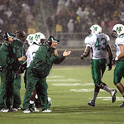 Marshall players celebrate a fumble recovery  in the downpour during an NCAA football game between the Marshall Thundering Herd and the Central Florida Knights at Bright House Networks Stadium on Saturday, October 8, 2011 in Orlando, Florida. (Photo/Alex Menendez)