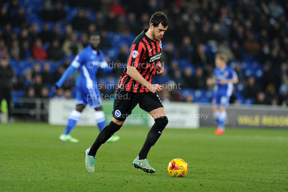 Gordon Greer of Brighton in action. Skybet football league championship match, Cardiff city v Brighton & Hove Albion at the Cardiff city Stadium in Cardiff, South Wales on Tuesday 10th Feb 2015.<br /> pic by Andrew Orchard, Andrew Orchard sports photography.
