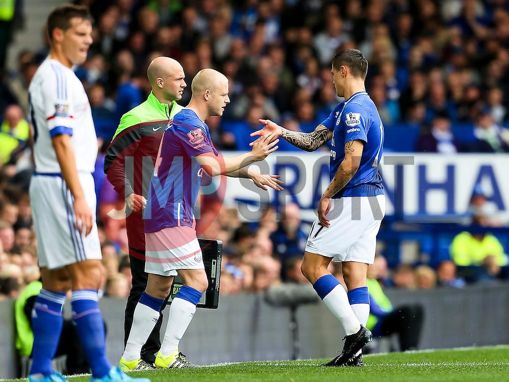 Everton's Steven Naismith replaces the injured Muhamed Besic - Mandatory byline: Matt McNulty/JMP - 07966386802 - 12/09/2015 - FOOTBALL - Goodison Park -Everton,England - Everton v Chelsea - Barclays Premier League