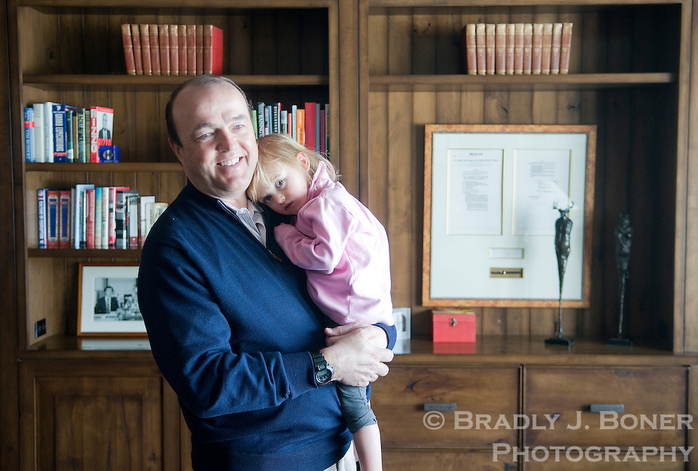 Bob Grady with his daughter, Kate, in the study of his home in Jackson, Wyoming. Grady was a speechwriter for George H.W. Bush and authored the Clean Air Act of 1990.