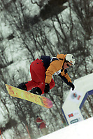 Snowboard, NM snøbrett halfpipe Geilo mars 2000. Caroline Ehrnstrasser.