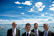 A groom and his groomsmen pose for a portrait before his wedding in Tahoe City.