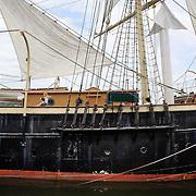 Visitors to Mystic Seaport exploring Joseph Conrad, the full- rigged ship at Mystic seaport. Mystic, Connecticut. 21st July 2013. Photo Tim Clayton