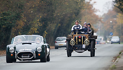 © under license to London News pictures. 07/11/2010 Vintage four-wheeled cars, tricars and motor tricycles taking part in the 77th London to Brighton Veteran Car Run (LBVCR) pass through Reigate, Surrey today (Sun). The world's longest running motoring even, representing 24 nations, takes the extraordinary automobiles on the 60-mile run from Hyde Park in central London to the seafront on the Sussex resort of Brighton.  Photo credit should read: London News Pictures/LNP
