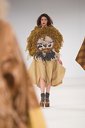© Licensed to London News Pictures. 31/05/2015. London, UK. Collection by Danielle Wilson. Fashion show of UCA Epsom at Graduate Fashion Week 2015. Graduate Fashion Week takes place from 30 May to 2 June 2015 at the Old Truman Brewery, Brick Lane. Photo credit : Bettina Strenske/LNP