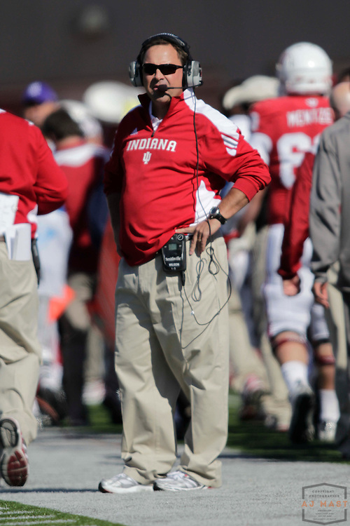 29 October 2011: Indiana Hoosiers head coach Kevin Wilson as the Northwestern Wildcats played the Indiana Hoosiers in a college football game in Bloomington, Ind.