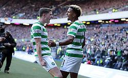 Celtic's Scott Sinclair celebrates scoring their first goal against Heart of Midlothian during the Betfred Cup semi final match at BT Murrayfield Stadium, Edinburgh.