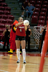 06 November 2004....Kelly Rikli serves....Illinois State University Redbirds V SouthWest Missouri State University Bears Volleyball.  Redbird Arena, Illinois State University, Normal IL..Illinois State Redbirds v Southwest Missouri State