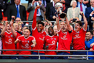 York City lift the trophy during the FA Trophy match between Macclesfield Town and York City at Wembley Stadium, London, England on 21 May 2017. Photo by Simon Davies.