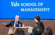Photo by Mara Lavitt<br /> April 18, 2019<br /> Yale School of Management<br /> <br /> Kevin Sneader of McKinsey & Company and Judith Samuelson of the Aspen Institute in conversation.
